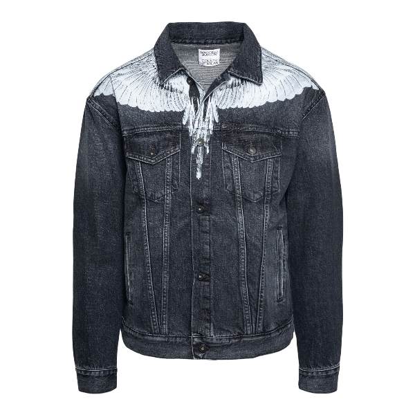 Black denim jacket with wings print                                                                                                                   Marcelo burlon CMYE001R21DEN001 front