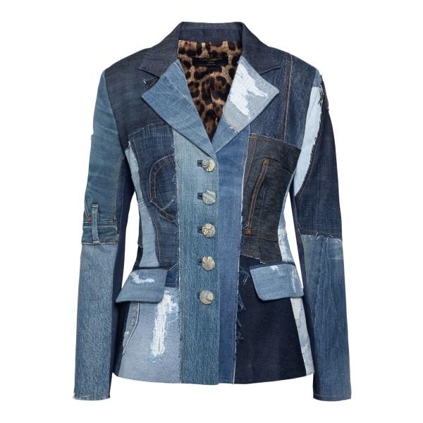 Giacca in denim blu stile patchwork                                                                                                                    DOLCE&GABBANA                                      DOLCE&GABBANA