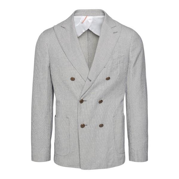 Double-breasted grey blazer                                                                                                                           Santaniello G7530MF back