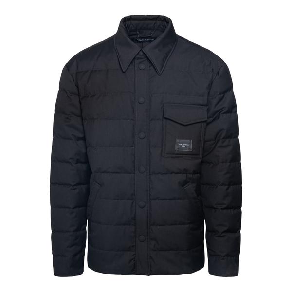 Black down jacket in shirt design                                                                                                                      DOLCE&GABBANA