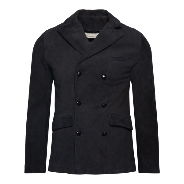Double-breasted black coat                                                                                                                             BRATO
