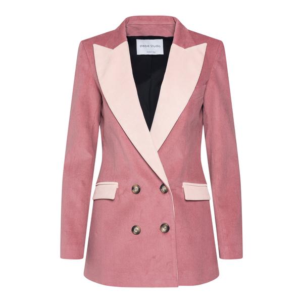 Blazer rosa con revers a contrasto                                                                                                                     HEBE STUDIO                                        HEBE STUDIO