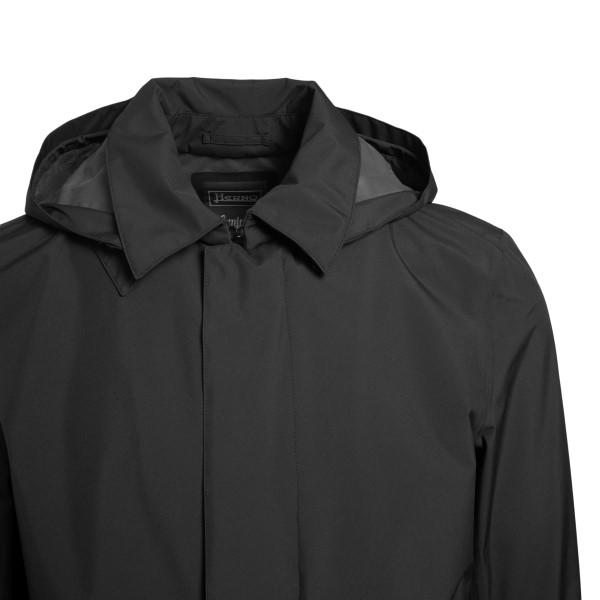 Black waterproof coat with hood                                                                                                                        HERNO