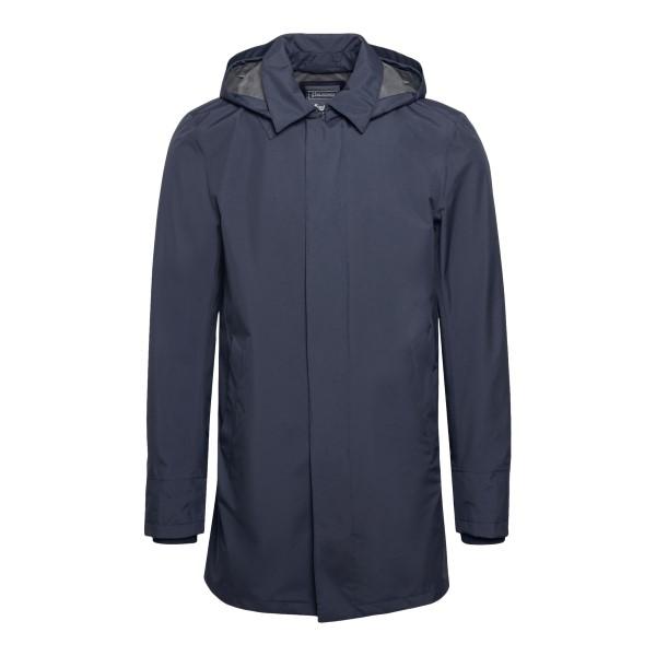 Dark blue waterproof coat with hood                                                                                                                   Herno IM038UL front