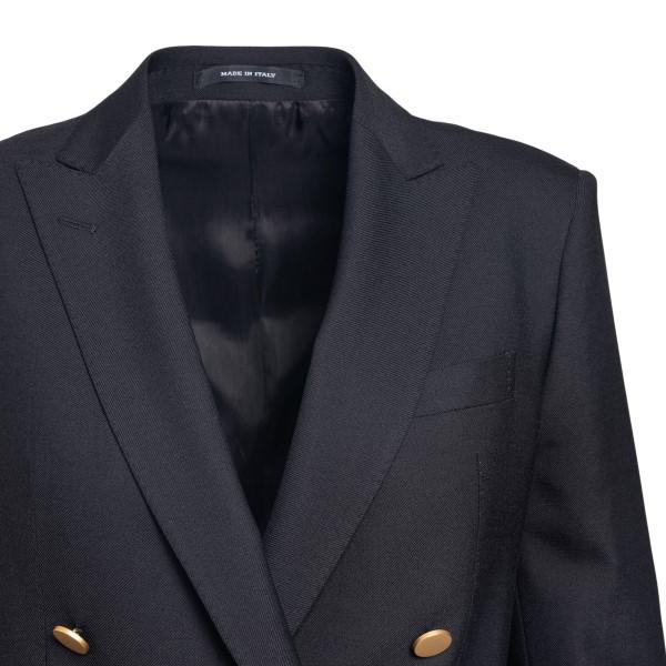 Double-breasted black blazer with gold button                                                                                                          TAGLIATORE
