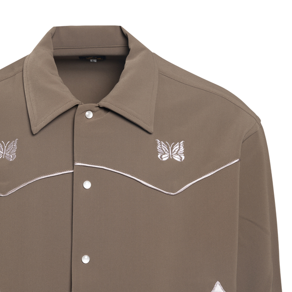 Military green shirt with embroidery                                                                                                                   NEEDLES