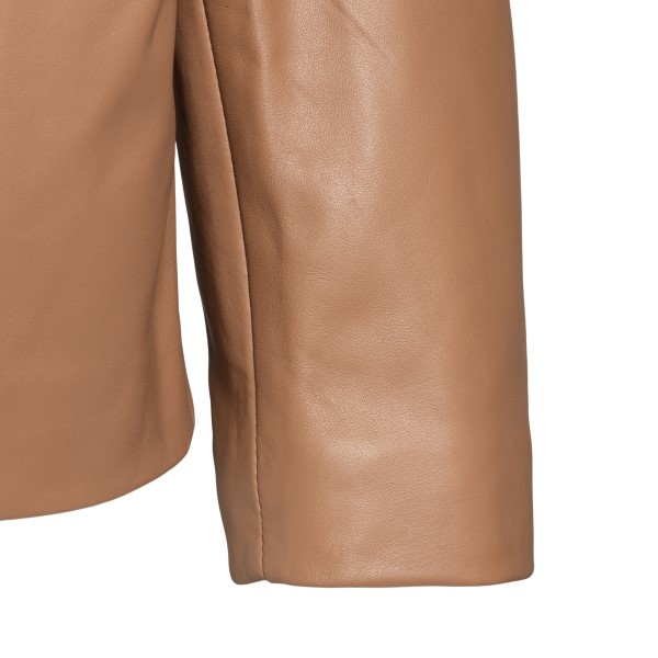 Crop jacket in caramel-colored leather                                                                                                                 LOULOU STUDIO