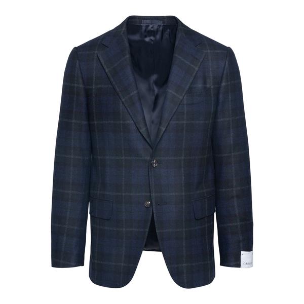 Single-breasted blue checked blazer                                                                                                                   Caruso LN2JM302F back