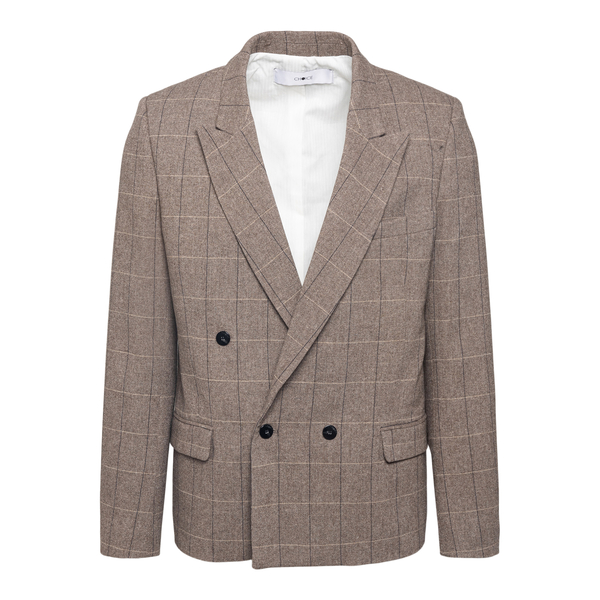 Beige double-breasted checked blazer                                                                                                                   CHOICE