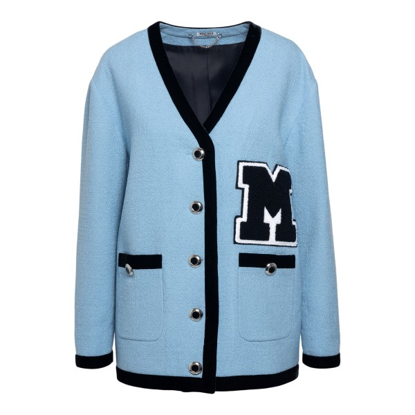 Light blue jacket with oversized patch                                                                                                                Miu miu MH1651 front
