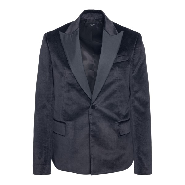 Single-breasted black blazer with pointed lap                                                                                                         Amiri MJS001 front