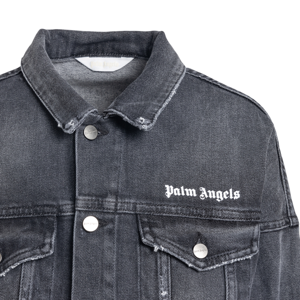 Giacca grigia in denim con logo                                                                                                                        PALM ANGELS PALM ANGELS