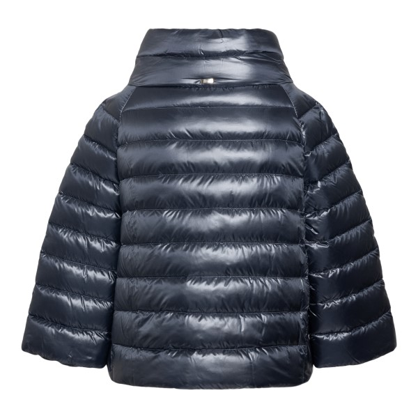 Short blue down jacket with metallic effect                                                                                                            HERNO