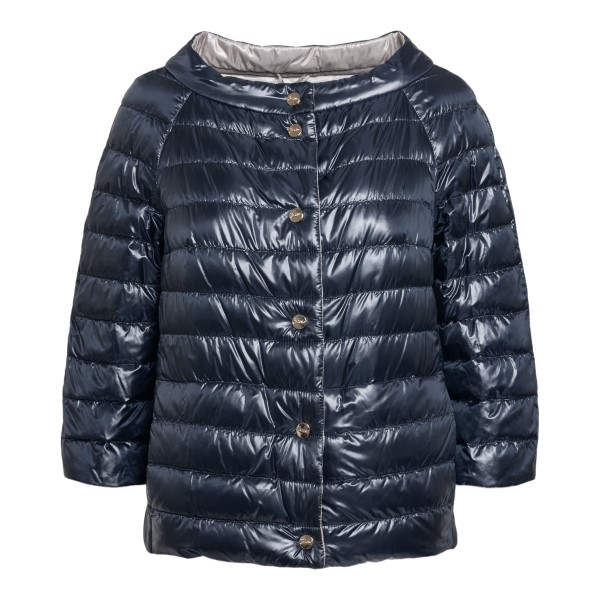 Blue down jacket with ring neckline                                                                                                                   Herno PI0769D front