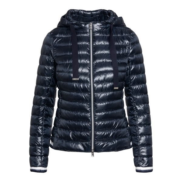 Blue down jacket with hood and drawstring                                                                                                             Herno PI1060D front
