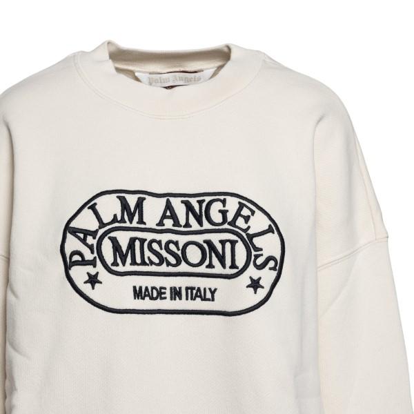 Felpa bianca con ricamo logo                                                                                                                           PALM ANGELS X MISSONI PALM ANGELS X MISSONI