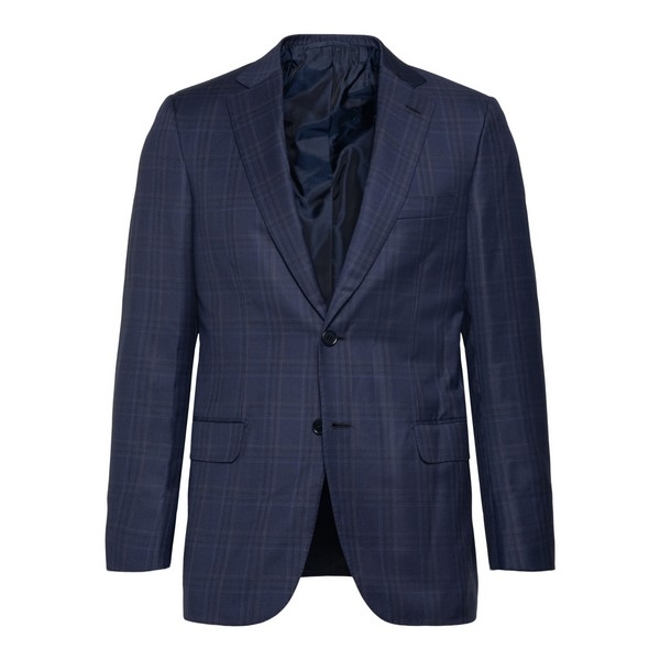 Blue blazer with check pattern                                                                                                                        Brioni RGKU0L front