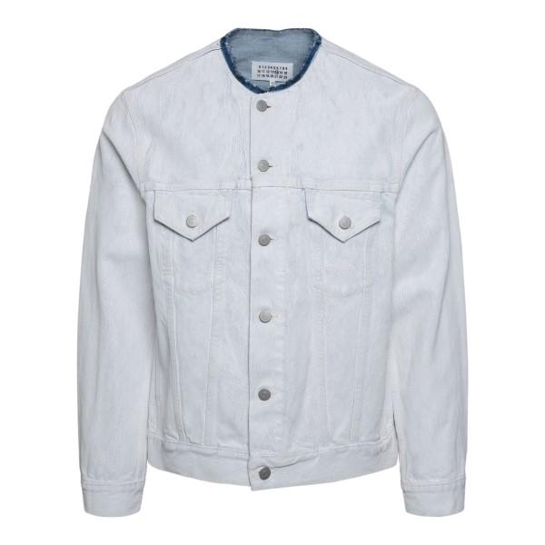 Crackle effect white denim jacket                                                                                                                     Maison Margiela S50AM0528 back