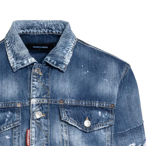 Distressed-effect light blue denim jacket                                                                                                              DSQUARED2