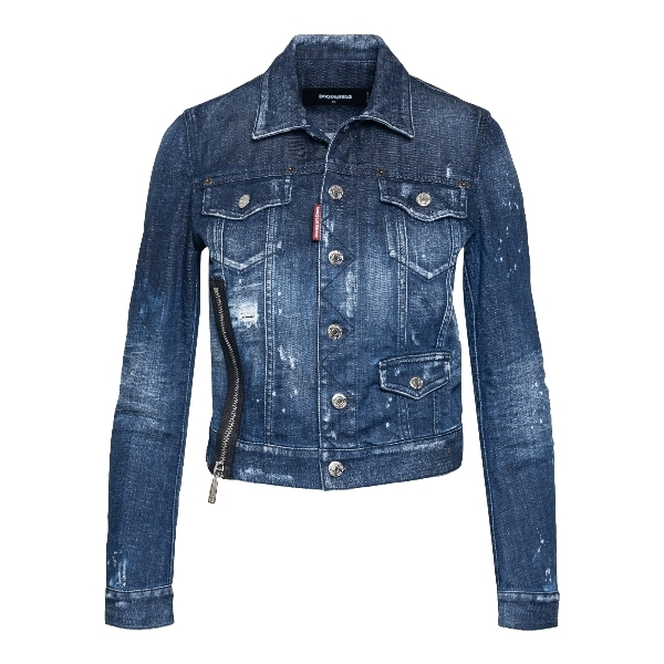 Blue denim jacket with worn effect                                                                                                                    Dsquared2 S75AM0822 front