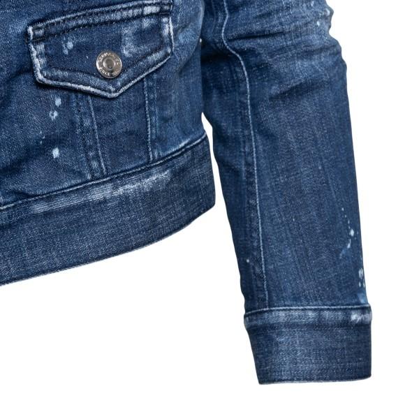 Blue denim jacket with worn effect                                                                                                                     DSQUARED2