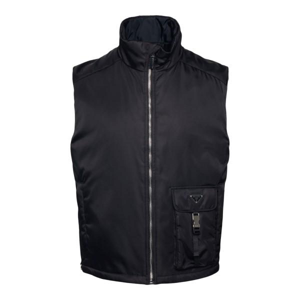 Black vest with patch pocket                                                                                                                          Prada SGB809 back