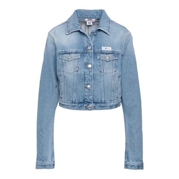 Cropped denim jacket with logo                                                                                                                        Gcds SS21W040053 back