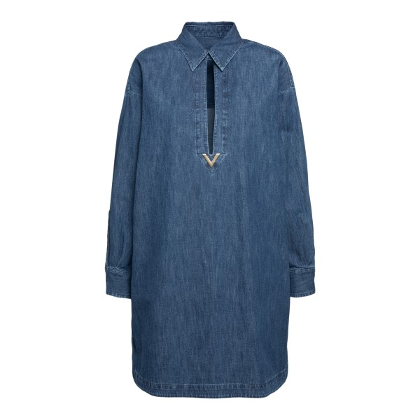 Short blue shirt dress with gold logo                                                                                                                 Valentino VB3DBD26 back