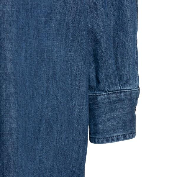 Short blue shirt dress with gold logo                                                                                                                  VALENTINO