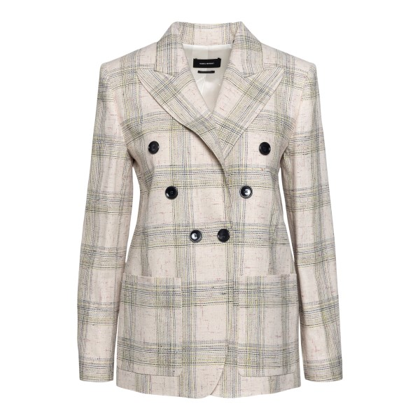 Double-breasted beige checked blazer                                                                                                                  Isabel marant VE1541 front