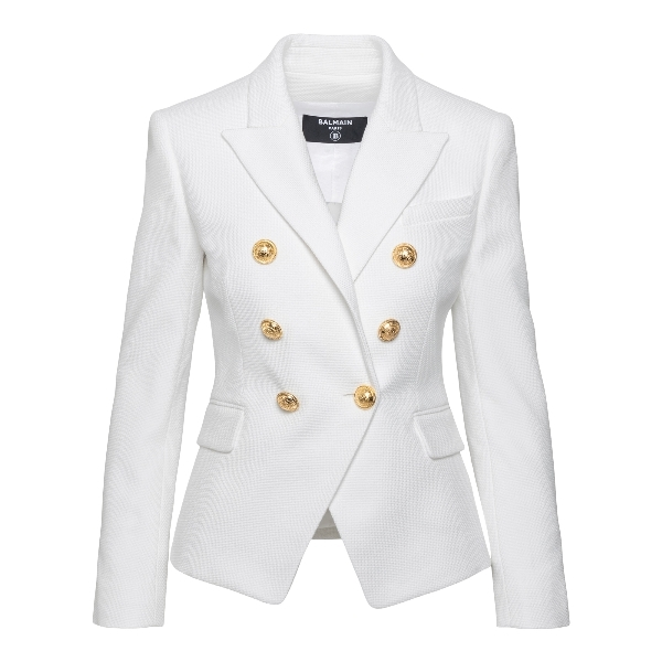 White double-breasted blazer with gold button                                                                                                         Balmain VF17110C208 front