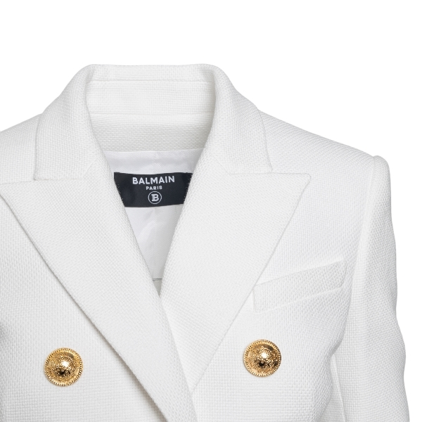 Giacca bianca a doppiopetto con bottoni oro                                                                                                            BALMAIN                                            BALMAIN