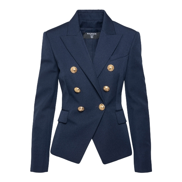 Double-breasted blue blazer with gold buttons                                                                                                         Balmain VF17110167L front