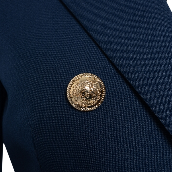 Double-breasted blue blazer with gold buttons                                                                                                          BALMAIN