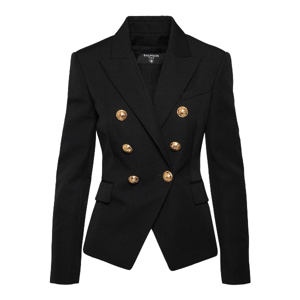 Double-breasted black blazer with gold button                                                                                                         Balmain VF17110167L front