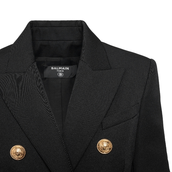 Double-breasted black blazer with gold button                                                                                                          BALMAIN