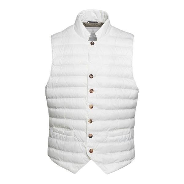 White waistcoat style down jacket                                                                                                                     Brunello cucinelli 1782 front