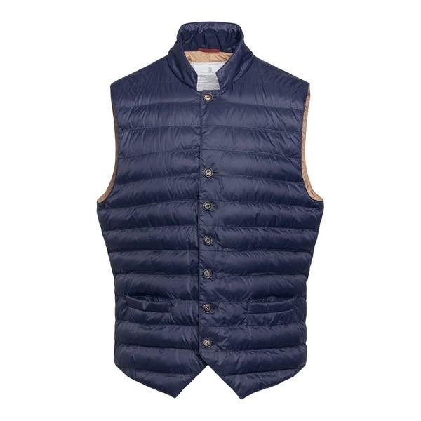 Navy blue waistcoat style down jacket                                                                                                                 Brunello cucinelli 1782 front