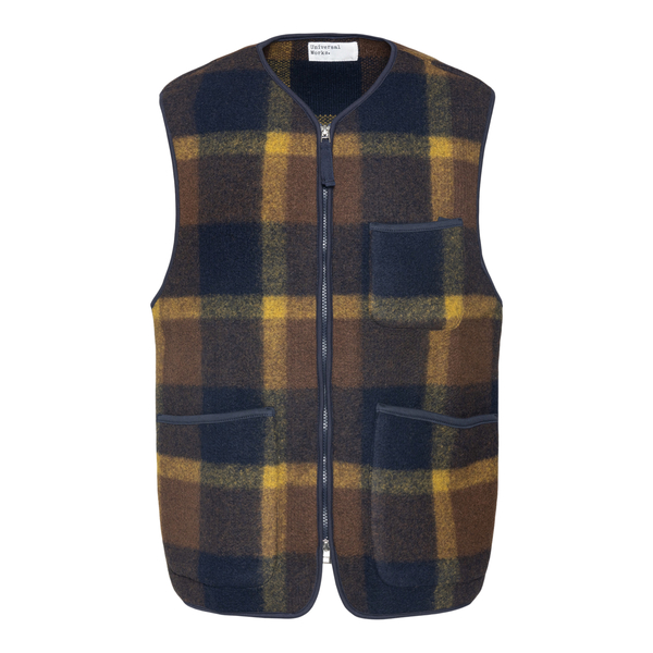 Blue checked waistcoat                                                                                                                                 UNIVERSAL WORKS