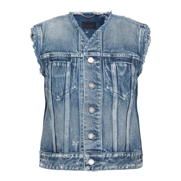 Denim vest with unfinished edges                                                                                                                      Saint Laurent 652256 back