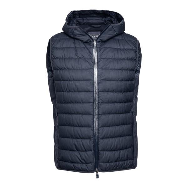Blue padded vest with back pocket                                                                                                                     Herno PI179UL front
