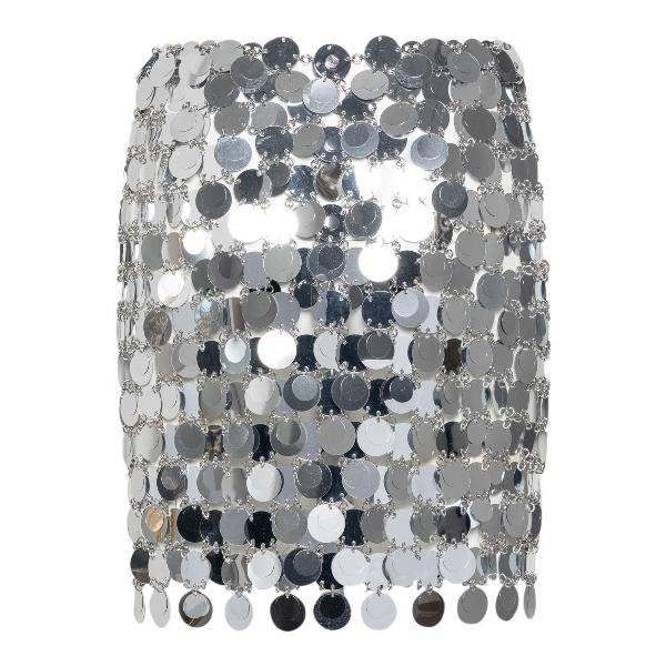 Minigonna con paillettes argento                                                                                                                      Paco rabanne 19EIJU010PS0133 fronte
