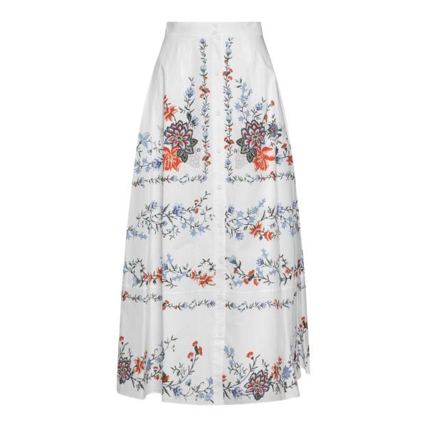 White flared midi skirt with flowers                                                                                                                  Erdem 4591CGP back