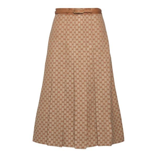 Beige midi skirt with logo pattern                                                                                                                    Gucci 652135 back