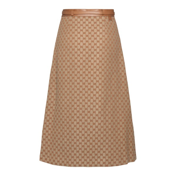 Beige midi skirt with logo pattern                                                                                                                     GUCCI