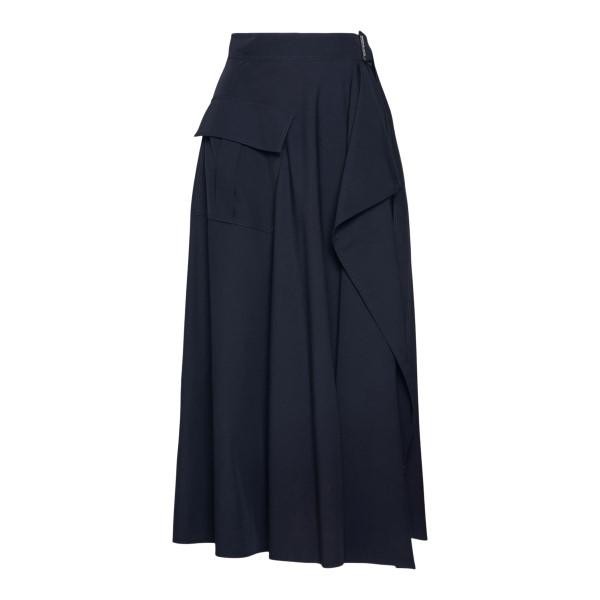 Navy blue wrap skirt                                                                                                                                  Alexander Mcqueen 662007 back