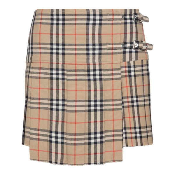 Beige checked mini skirt with buckles                                                                                                                 Burberry 8025832 back