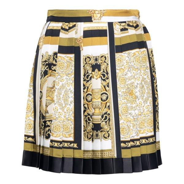 Pleated skirt with baroque print                                                                                                                      Versace A79448 back