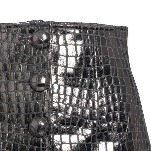 Silver miniskirt leather effect                                                                                                                        ANDAMANE