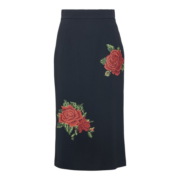 Longuette nera con rose ricamate                                                                                                                      Dolce&gabbana F4B0ZZ fronte